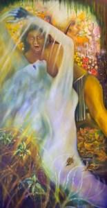 Mythology Orpheus: Don't Look Back Orpheus, Oil on canvas,2011 by Minneapolis visual artist Roger Williamson