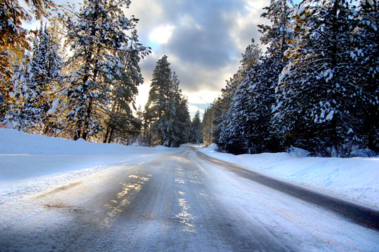 motorcycle snow road
