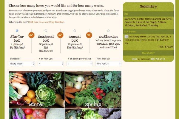 Full Belly Farm CSA Online Sign-up