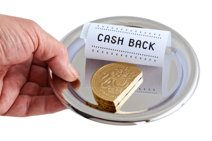 Cashback on purchases made. A common form of trading is rebating cash via the purchase of bought products or services on the internet. An oversized cut pound coin symbolises the return of the cash rebate, with a checkout till receipt. Isolated on a white background.