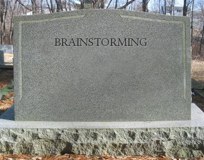 Tombstone with brainstorming written across