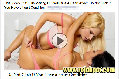 Another highly suggestive clickbait post (censored by us) that entices the Facebook user to accept the malicious app.