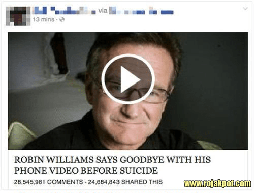 This Robin Williams clickbait post appeared right after his suicide.