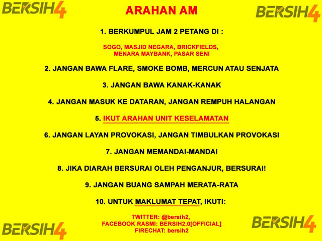 Bersih 4 General Instructions