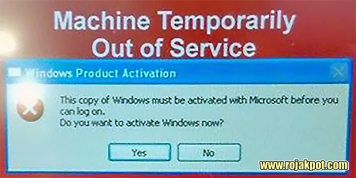 A close-up shot of the Windows product activation notice