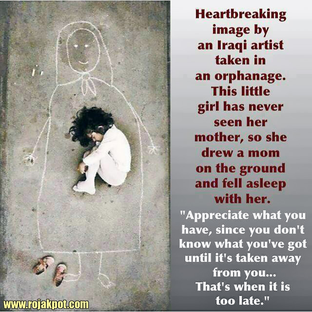 This Iraqi orphan has never seen her mother so she drew this!