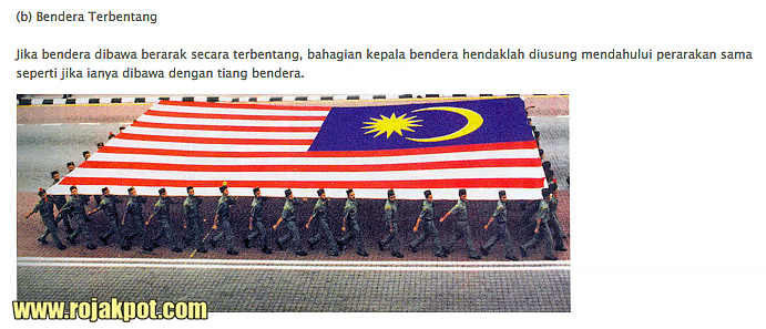 The correct way to carry the Malaysian flag