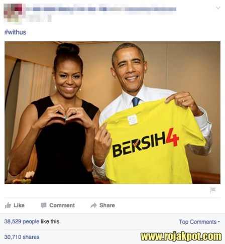 Michelle & Barack Obama showing their support for Bersih 4?