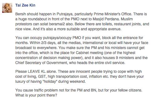 Tai Zee Kin's preposterous reasons why the Bersih 4.0 rally should shift to Putrajaya