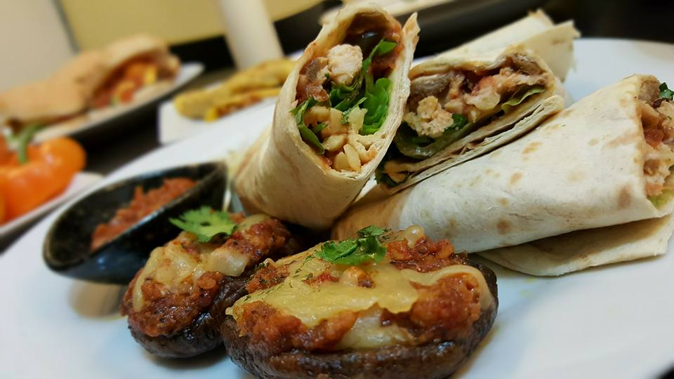 Tortilla Wraps with Salsa and Grilled Portobello Mushrooms