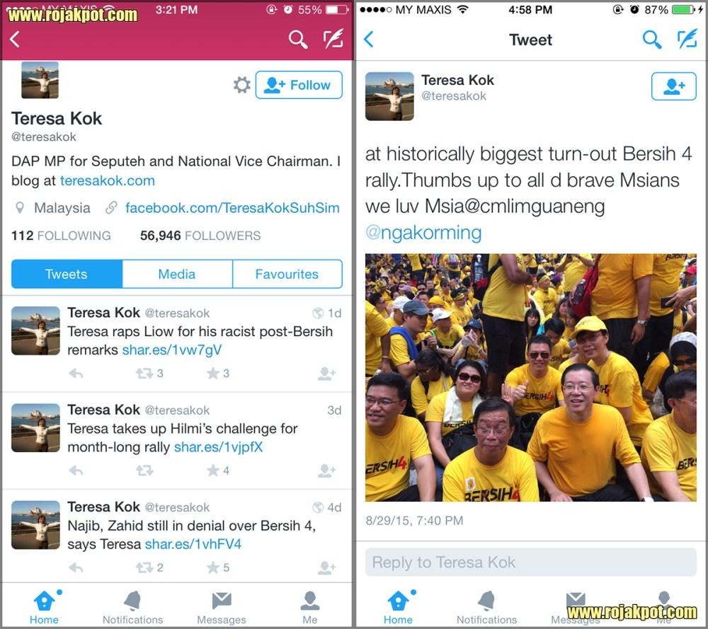 Teresa Kok's latest tweets as of 6th of September 2015