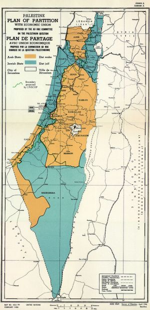 Map of UN Partition Plan for Palestine, adopted 29 Nov 1947 | Credit : Wikimedia Commons