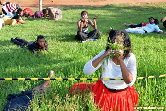 Pastor Lesego Daniel and his grass eating congregation