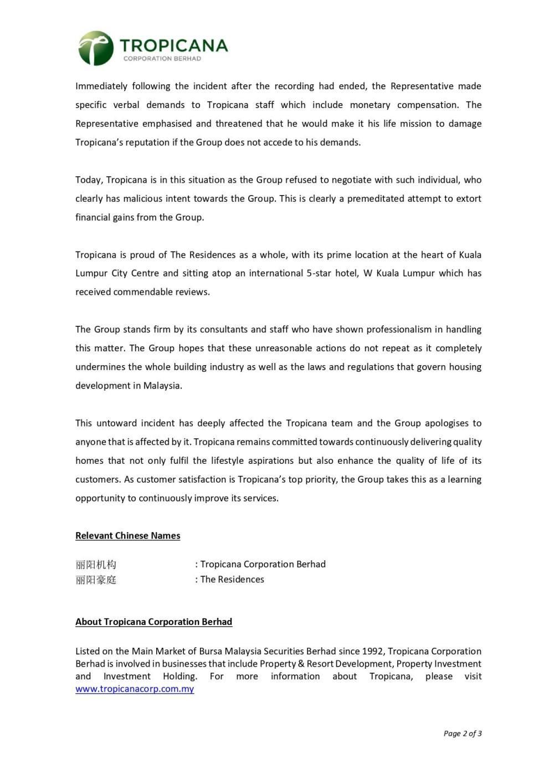Tropicana press release on the controversy