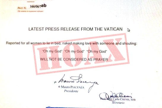 Vatican Oh My God Press Release Debunked!