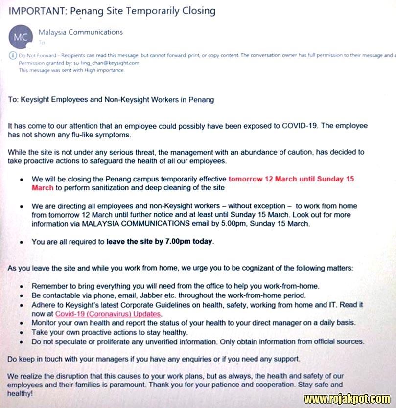 COVID-19 : Keysight Penang Temporary Closure Confirmed!