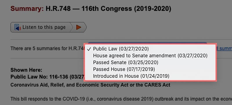 CARES Act HR 748 changes