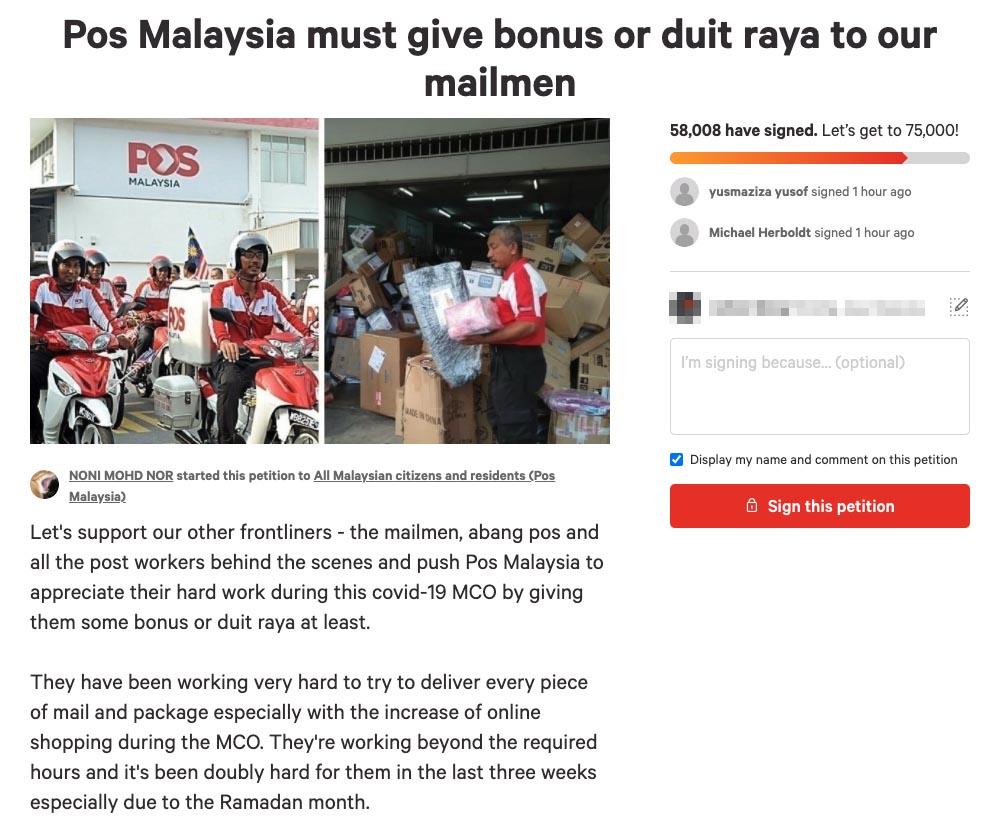 Pos Malaysia bonus Change petition