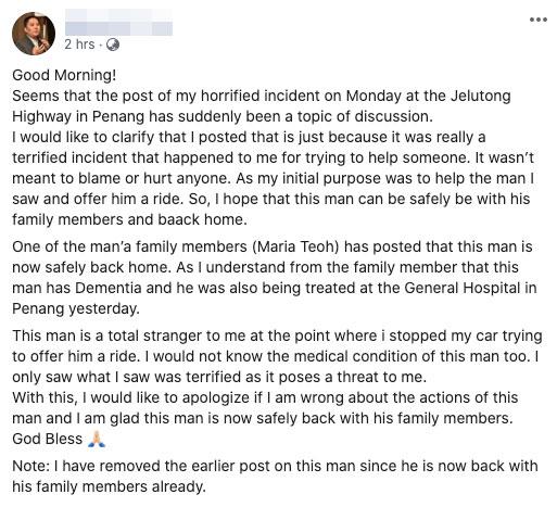 Penang motorist apology