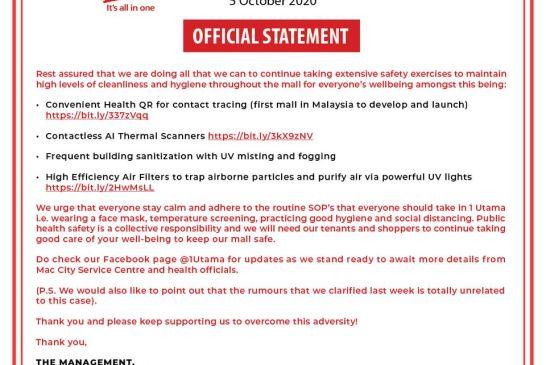 1 Utama COVID-19 statement 02