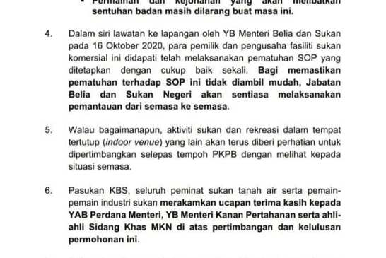KBS Malaysia - CMCO PKPB sports facilities allowed 02