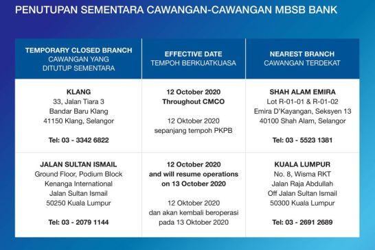 MBSB COVID-19 closure