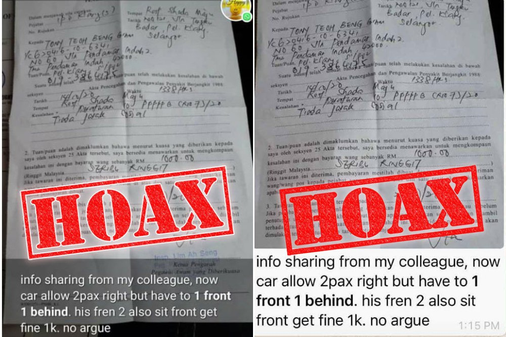 Malaysia CMCO Car Seating Fine Hoax combined
