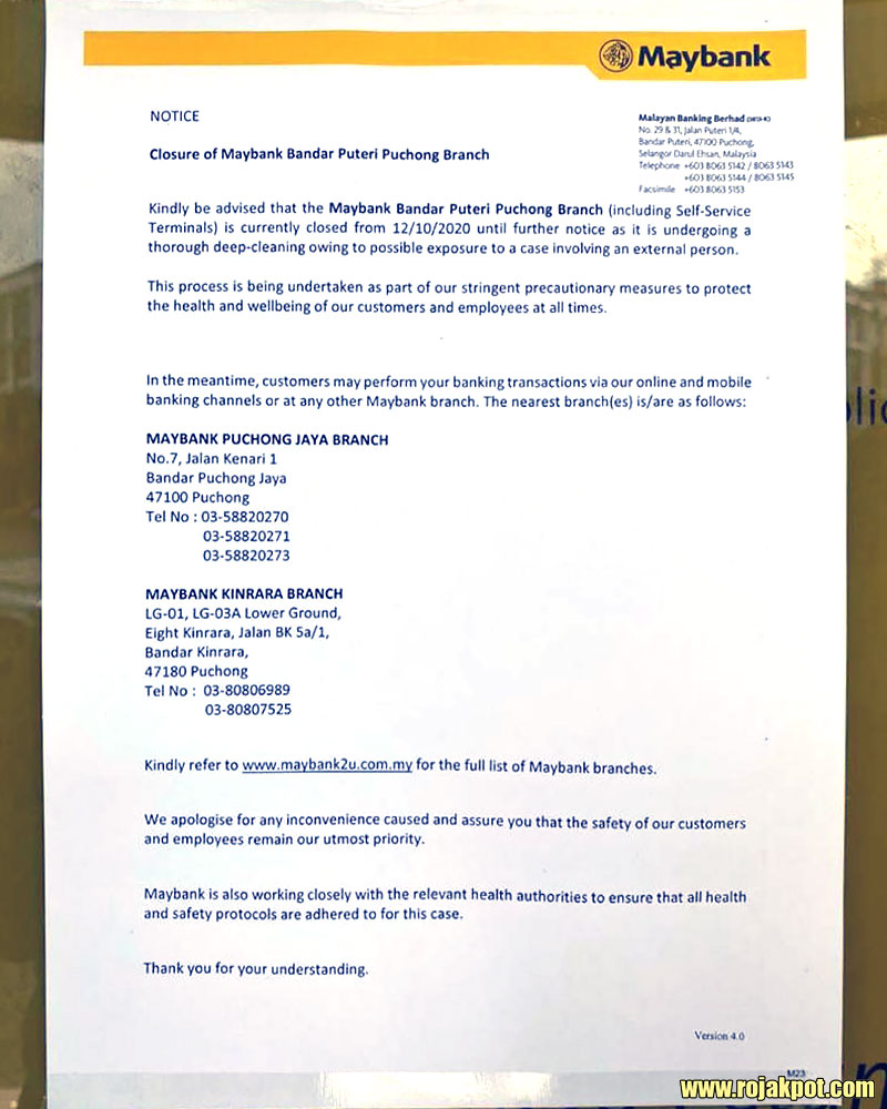 Maybank Bandar Puteri Puchong COVID-19 statement