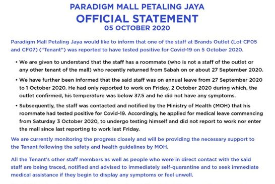 Paradigm Mall : Padini Staff Infected With COVID-19!