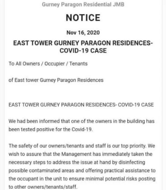 Gurney Paragon Residences COVID-19 notice