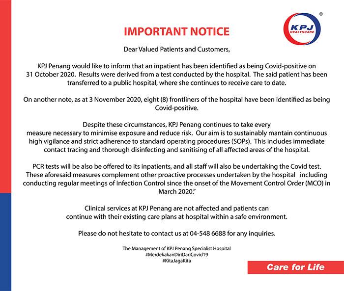 KPJ Penang COVID-19 notice