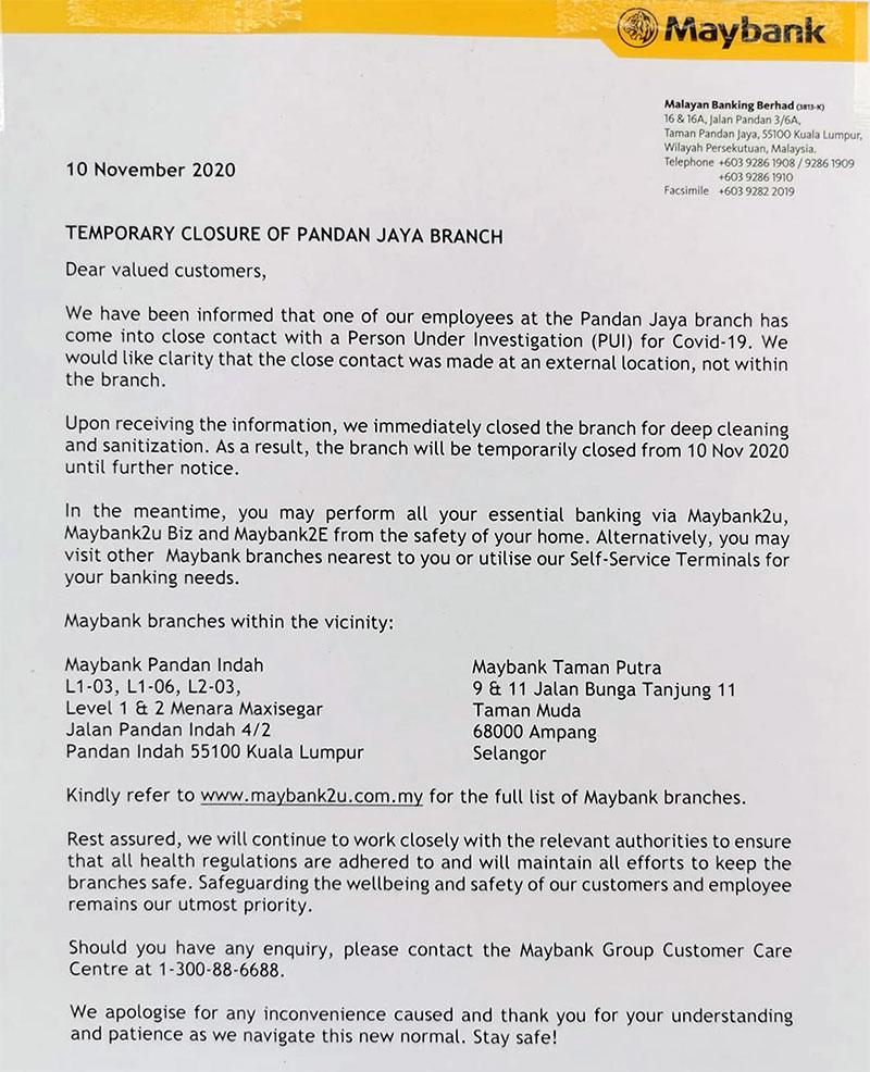 Maybank Pandan Jaya COVID-19 notice