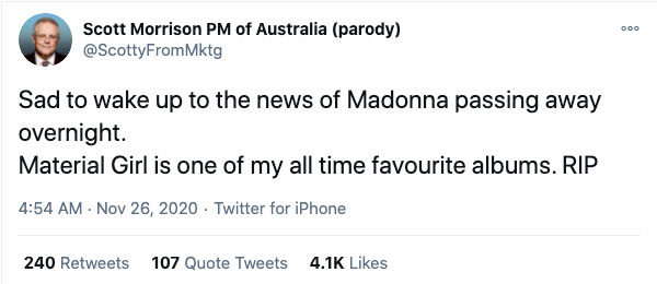 Scott Morrison parody Maradona death tweet