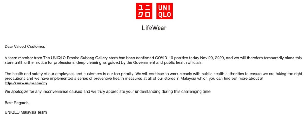UNIQLO Empire Subang COVID-19 notice