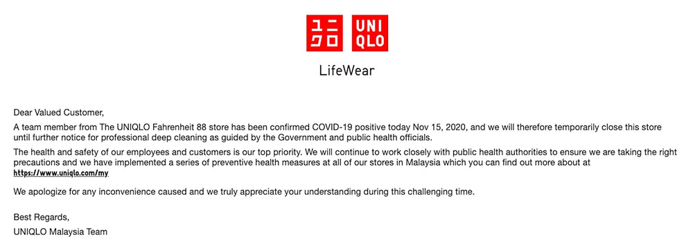 UNIQLO Fahrenheit 88 : Staff Positive For COVID-19!
