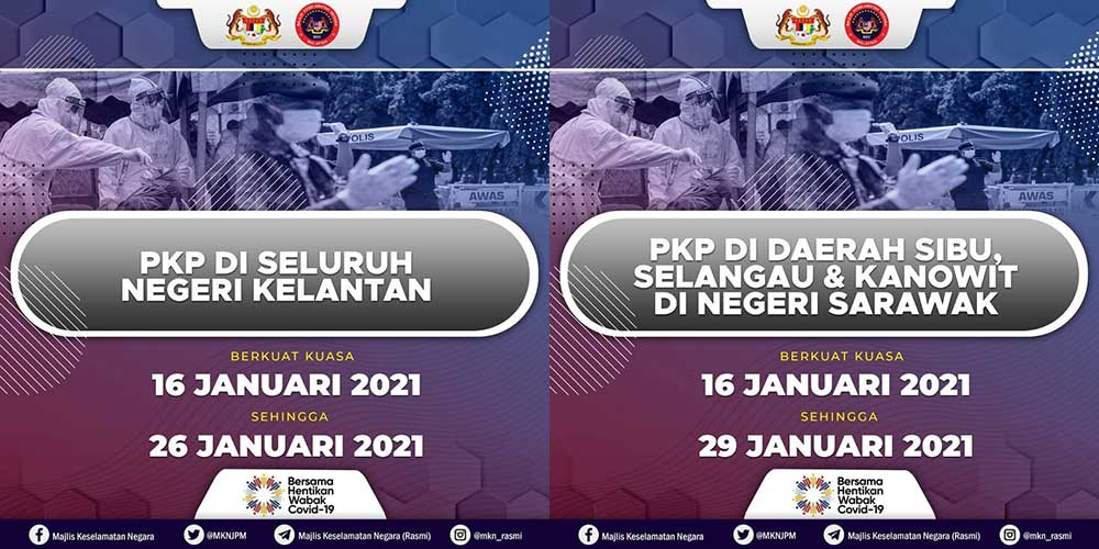 Kelantan + 3 Sarawak Districts Coming Under MCO / PKP!