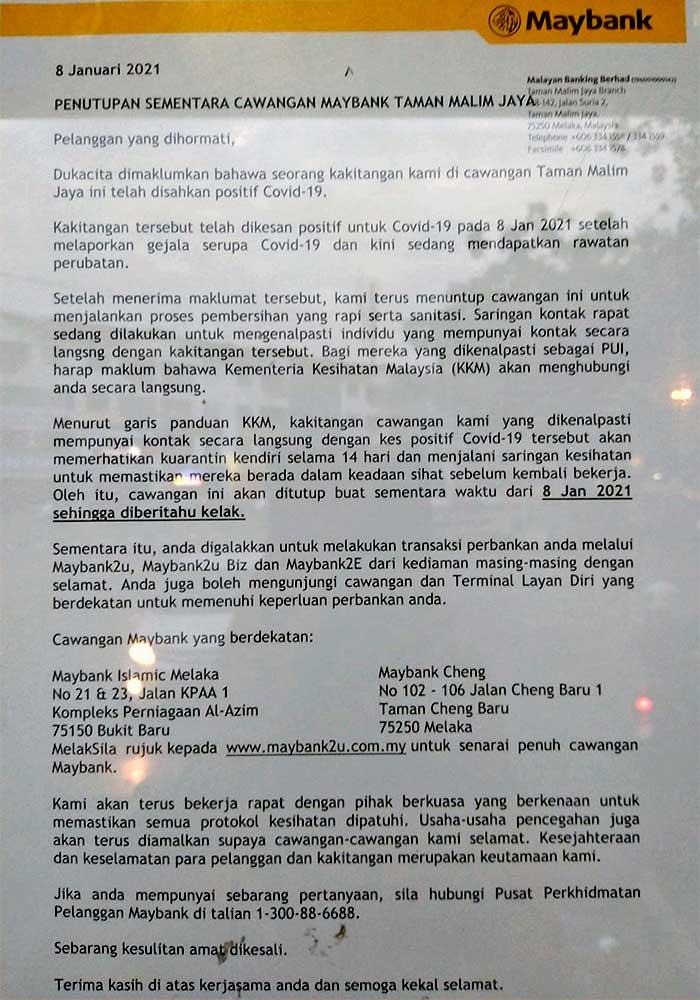 Maybank Taman Malim Jaya : Closed After COVID-19 Case!