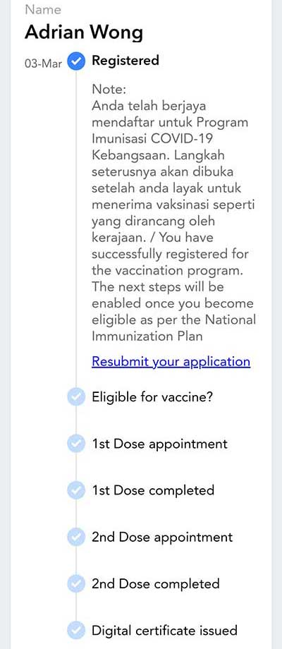 MySejahtera : No Need To Register Again For Vaccination!