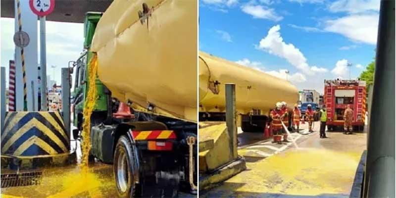 Tanker Hits Juru Toll, Spills 20,000 Litres Of Oil!