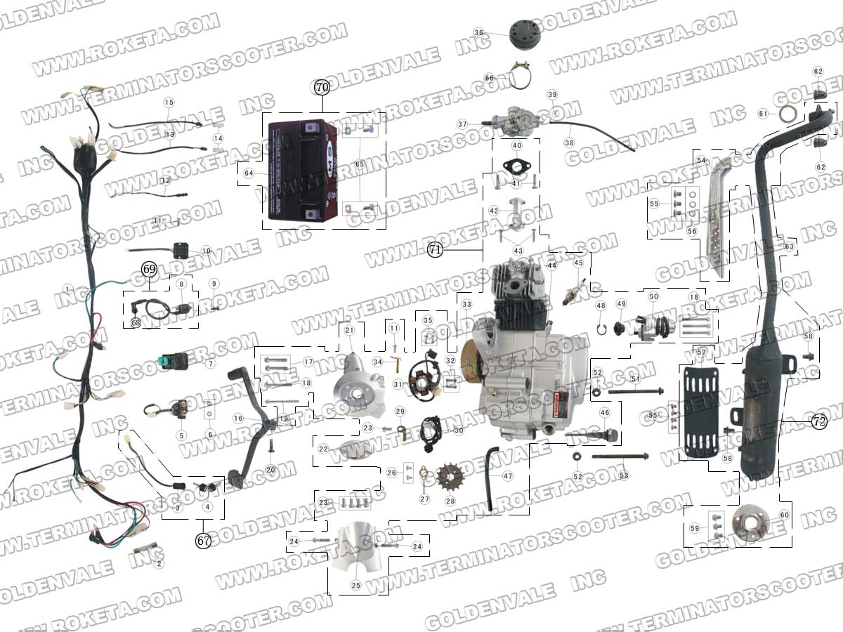 Roketa Atv 41 Engine Wiring And Exhaust Parts