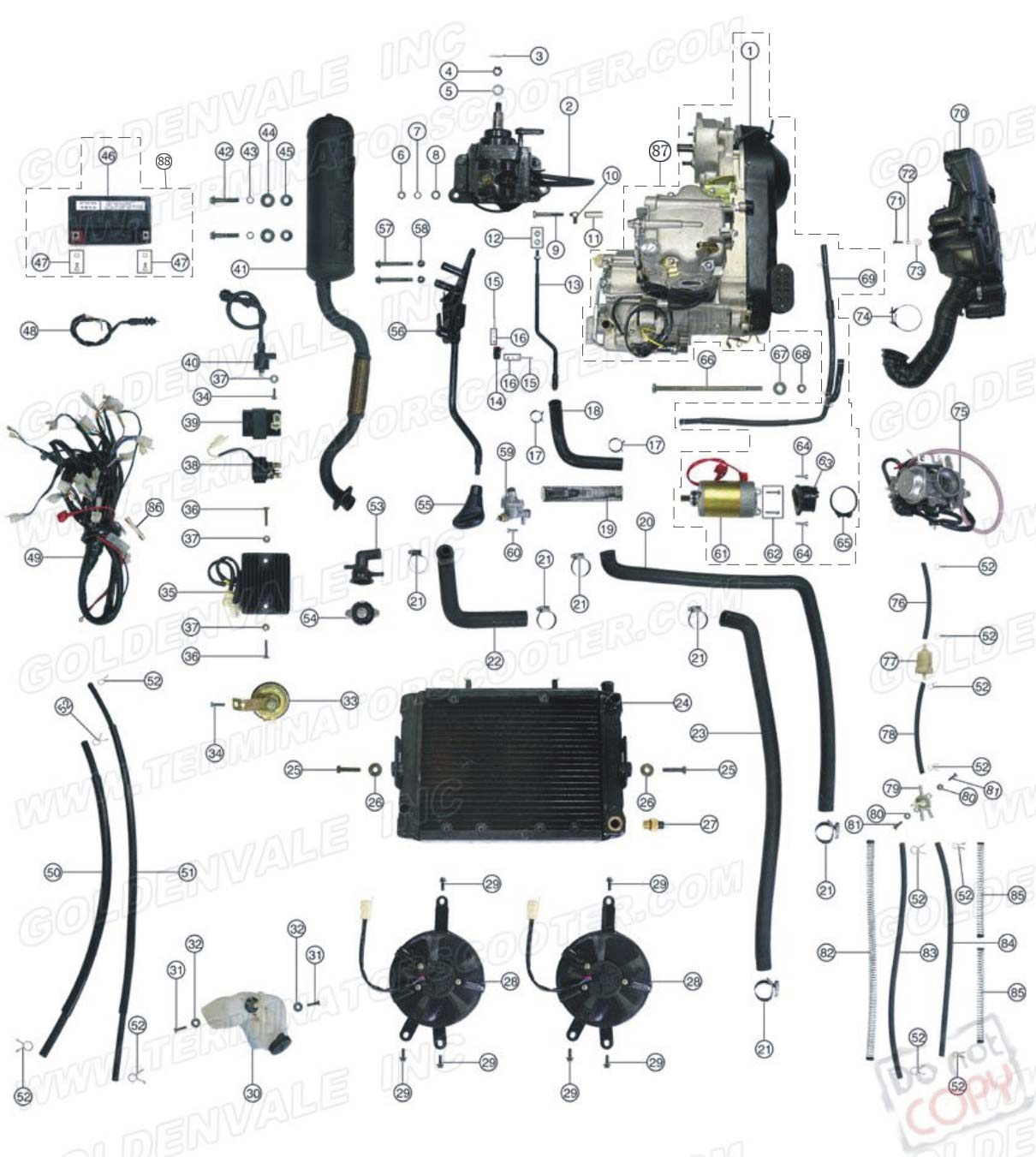 Roketa Atv 01 Engine Wiring And Exhaust Parts