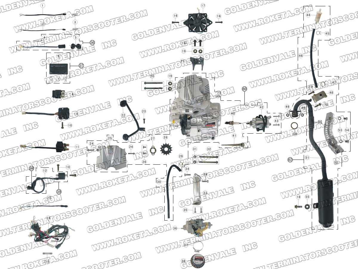 roketa atv 03 200 engine wiring and exhaust parts