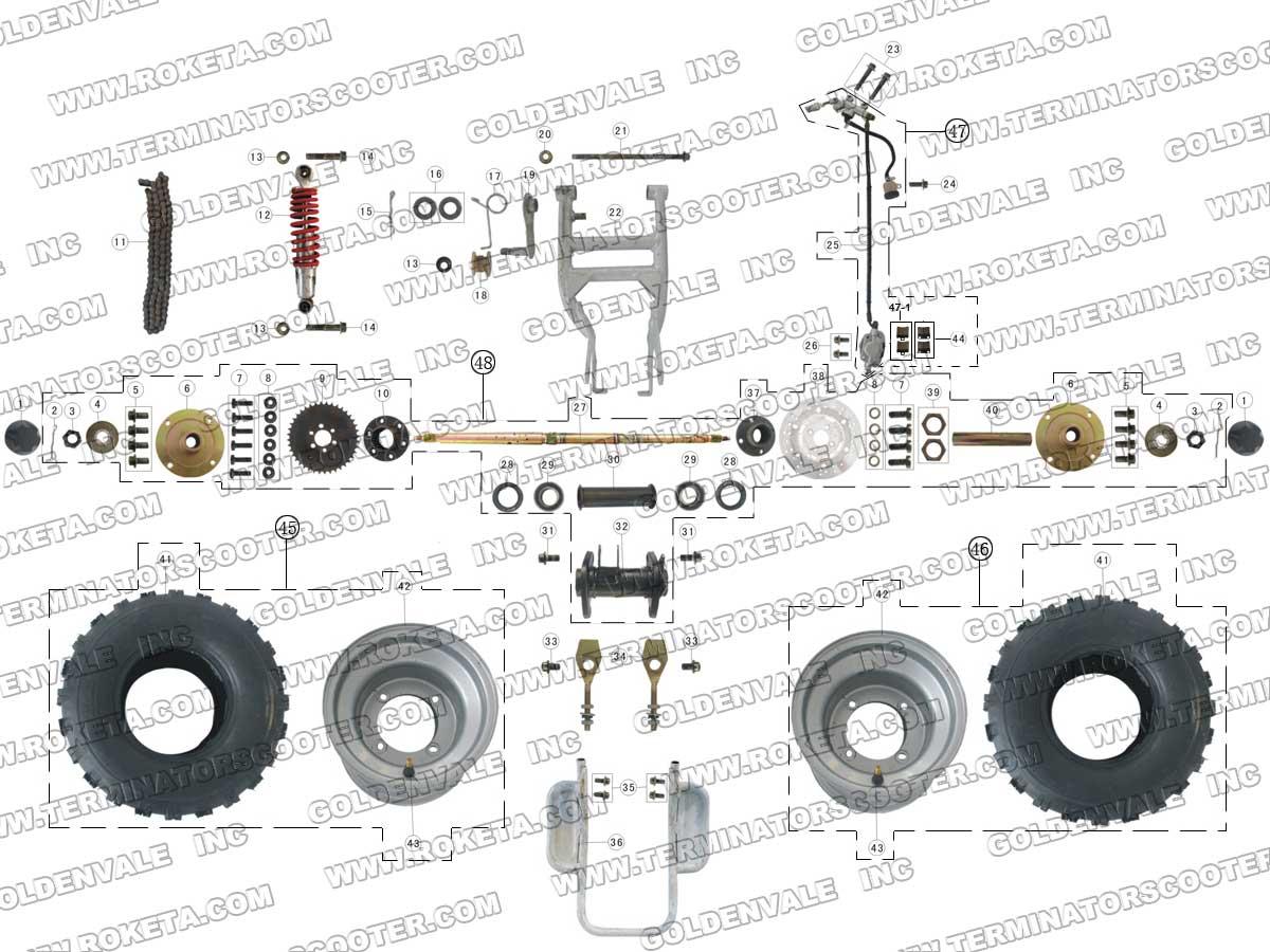 Roketa Atv 03 200 Rear Wheel Assembly Parts
