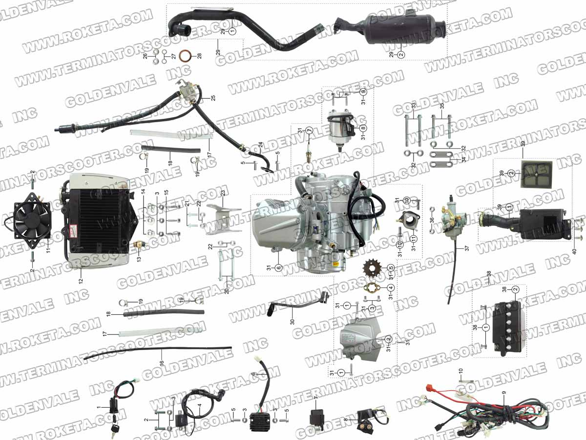 Roketa Atv 04wc Engine Wiring And Exhaust Parts