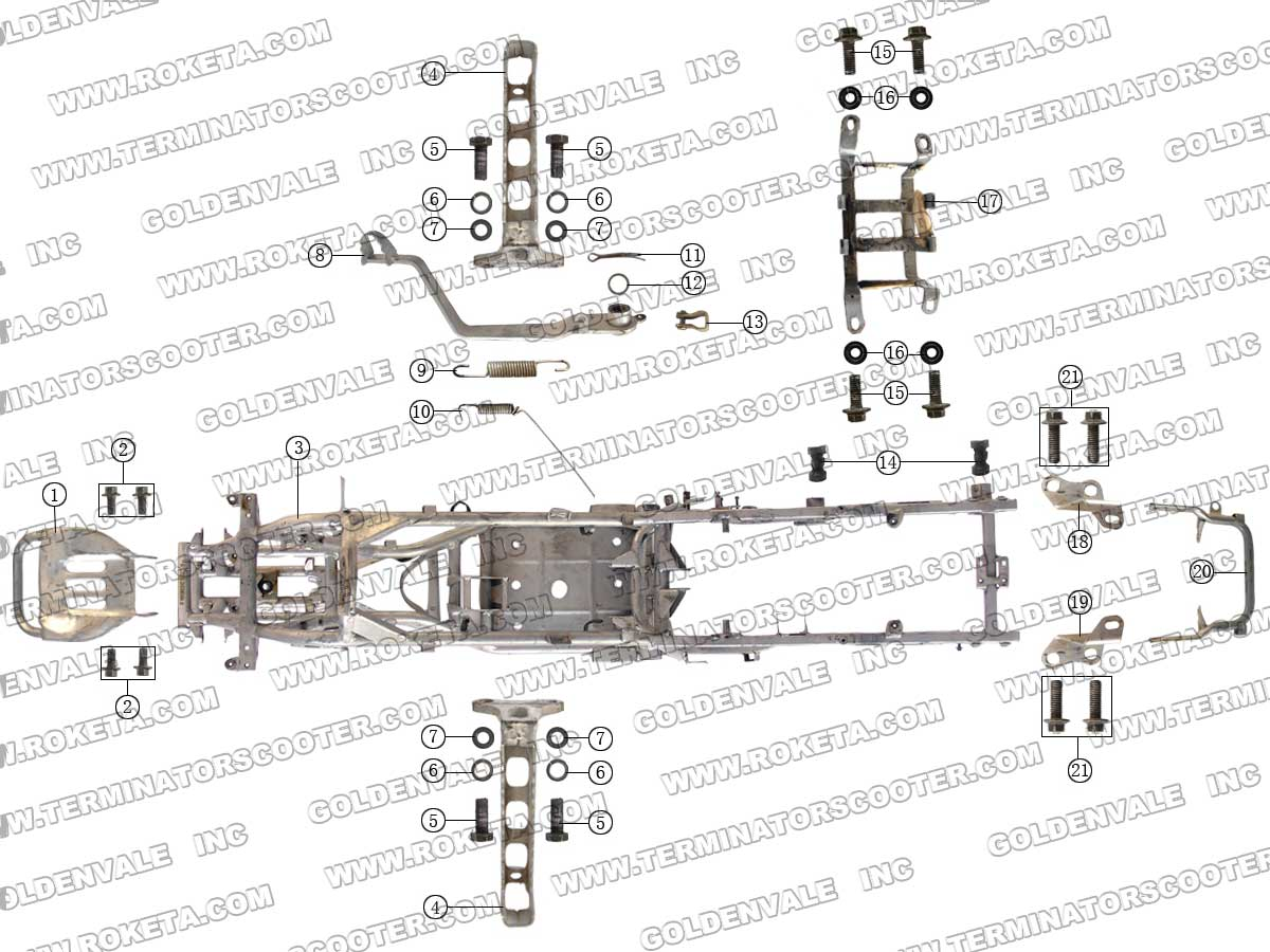 Roketa Atv 06 Frame Parts