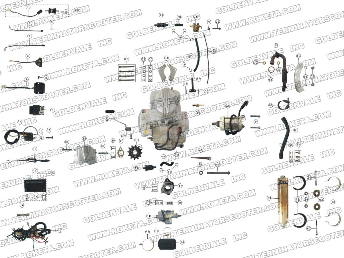 Roketa Atv 06 Engine Wiring And Exhaust Parts