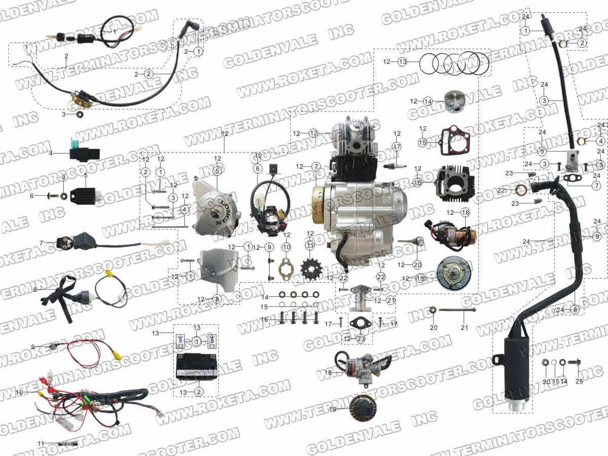 Roketa Atv 08l Engine Wiring And Exhaust Parts