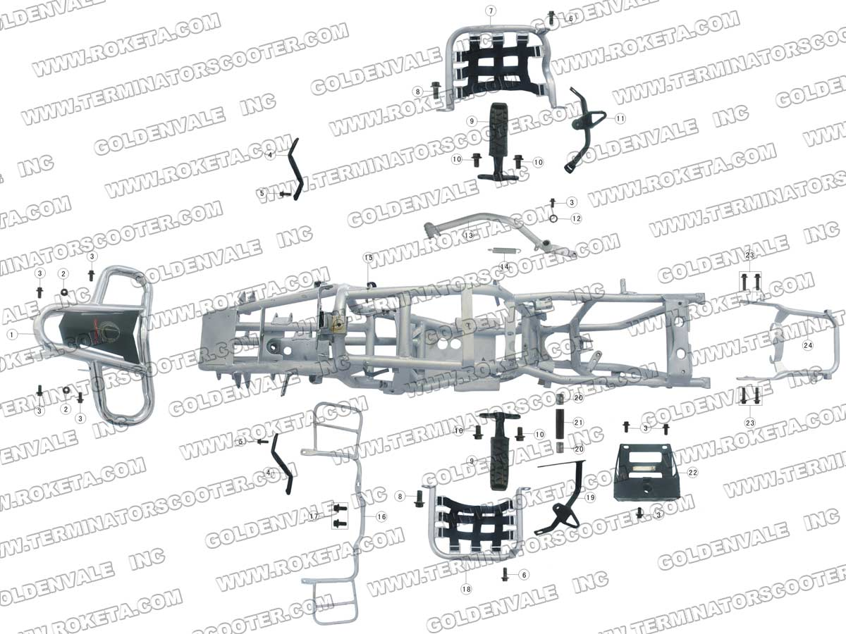 Roketa Atv 09 Frame Parts