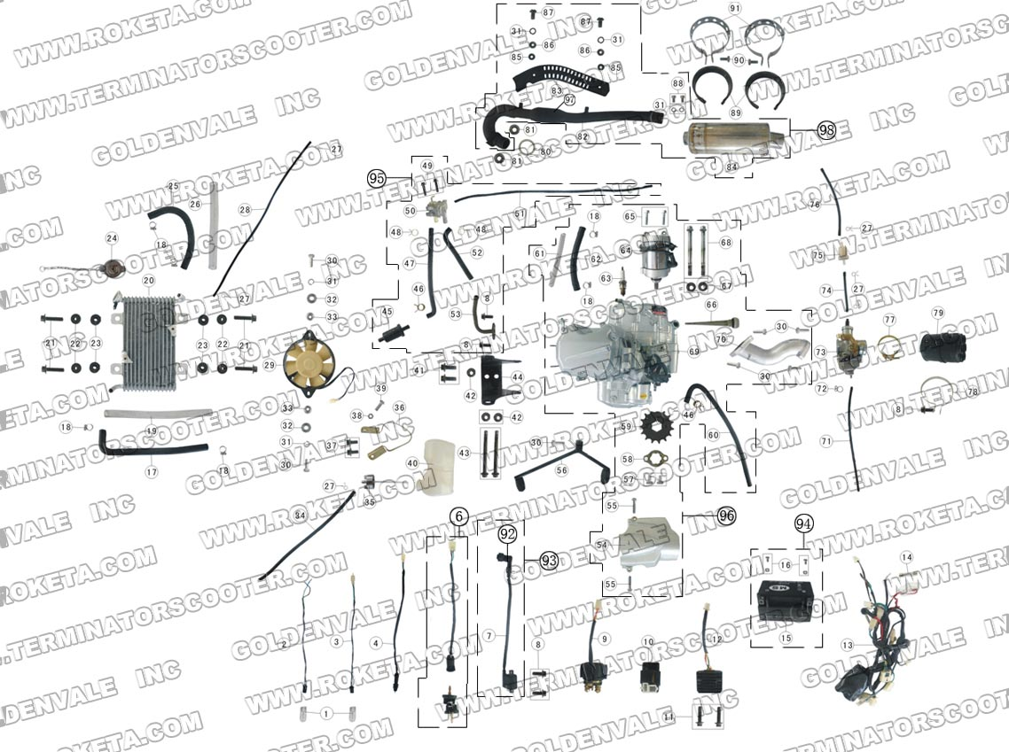 Roketa Atv 09 Engine Wiring And Exhaust Parts