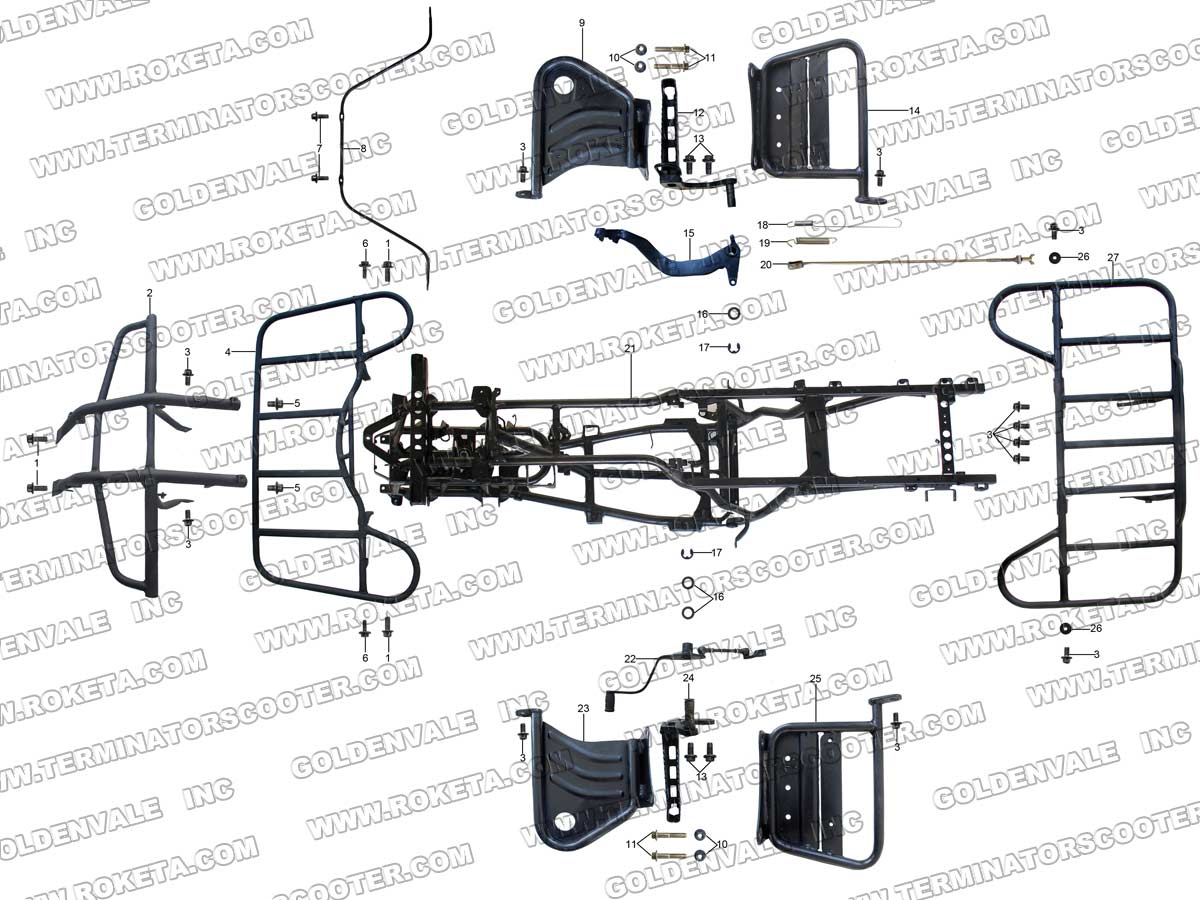 Roketa Atv 11 Frame Parts